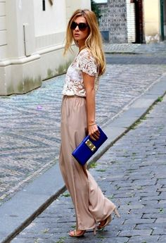 lace top with palazzo trousers