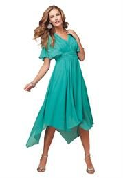 Plus Size Fit and Flare Unven Hanky Hem Dress image