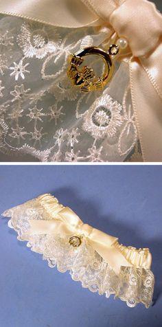 Irish lace wedding garter with claddagh charm. Wedding Garter Lace, Lace Garter, Wedding Garters, Wedding Shoes, Wedding Groom, Wedding Tips, Dream Wedding, Wedding Fun, Wedding Stuff