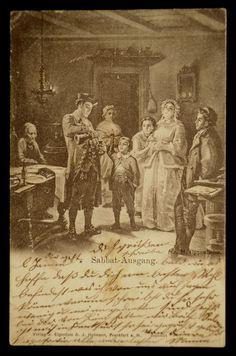 1899 Judaica German Postcard Jewish Sabbat