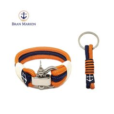 Bran Marion Orange and Blue Nautical Bracelet and Keychain Nautical Bracelet, Nautical Jewelry, Orange And Blue Make, Marine Rope, Nautical Fashion, Everyday Look, Handmade Bracelets, Jewelry Collection, Personalized Items