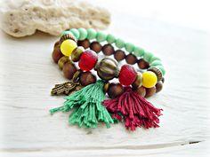 Yoga Tassel Bracelet  Gypsy Tassel Bracelet  by HandcraftedYoga