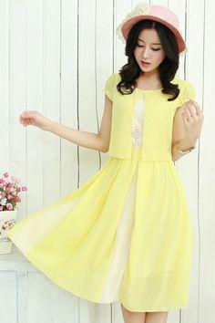 Color Block chiffon dress