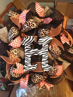 Hey, I found this really awesome Etsy listing at https://www.etsy.com/listing/164599884/24-animal-print-deco-mesh-wreath-made-to