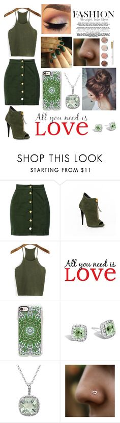 """""""Love"""" by annawell-1 ❤ liked on Polyvore featuring Boohoo, Brewster Home Fashions, Casetify, John Hardy, Amanda Rose Collection, Terre Mère and denimskirts"""