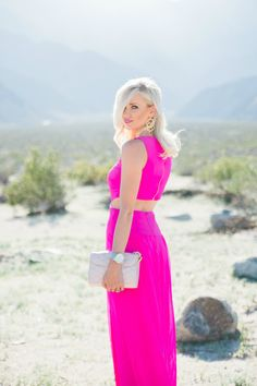 My desert glam in now live on the blog with @zappos! This Hot Pink Maxi Dress in on  MckennaBleu.com, with full outfit details, and my favorite things to shop! #nicolemiller #palmsprings #styleinspo