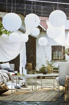 Solar suspended luminaire, LED SOLVINDEN for outside, round white - Outdoor - Balcony Furniture Design Interior Garden, Interior Exterior, Outdoor Spaces, Outdoor Living, Ikea Outdoor, New Swedish Design, Luminaire Led, Balcony Furniture, Furniture Ideas