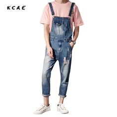 Men's Clothing Super Handsome Youthful Couple Jumpsuits Korean Fashion Hip Hop Style Suspender Pants Casual Brokean Hole Jeans Good Quaality