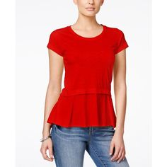 Style & Co. Petite Layered-Look Peplum T-Shirt, ($35) ❤ liked on Polyvore featuring tops, t-shirts, new red amore, layering tee, red top, red peplum top, peplum tee and style&co tops