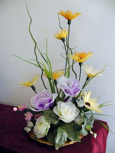 Handmade Nylon Flower Arrangement by LiYunFlora on Etsy, $40.00