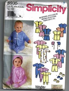 Babies' Layette / Original Simplicity Uncut Sewing Pattern 5935 by grammysyarngarden on Etsy