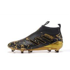 Bueno 2017 Adidas ACE 17 PureControl FG Negro Oro Zapatos De Soccer