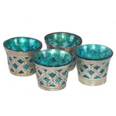 turquoise metal glass votive