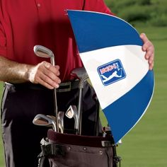 """Official PGA Tour Golf Umbrella, from GreatGiftsforMen.com  Was 29.95  Clearance $18.50  In Stock and Ready to Ship!      Protect your golf gear from the elements      Featuring a telescoping umbrella shaft      The perfect golf gift for the golf lover in your life      Measures 41"""" long and is extendable up to 54"""" in length with a 24"""" diameter canopy"""