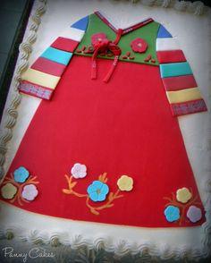Hanbok birthday cake for a Korean 1st birthday
