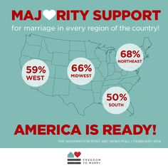We never thought we'd be so excited to see a map with percentages on it, but here we are. Thanks to Freedom to Marry for the image! Political Opinion, Politics, Ex Mormon, Organization Lists, Lgbt History, Doctrine And Covenants, Think Before You Speak, Will And Grace, Lgbt Rights