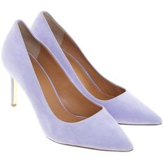 Pre-owned pumps in lilac (250 CAD) ❤ liked on Polyvore featuring shoes, pumps, taupe, lilac shoes, pre owned shoes, taupe suede pumps, lilac pumps and tory burch footwear