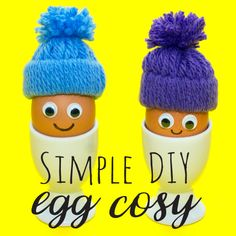 These DIY woolly hat egg cosies are a great fun and simple craft to make with the kids this winter! They're so easy to make and use hardly any materials (and will keep your eggs really warm!)