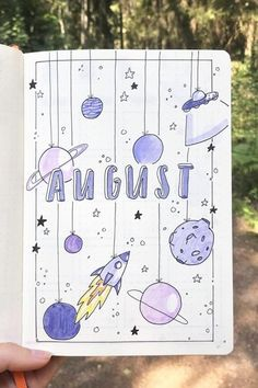 How cute is this space themed monthly cover spread? - 45 Best August Monthly Cover Ideas For Summer Bujos - Crazy Laura Bullet Journal Cover Ideas, Bullet Journal Writing, Bullet Journal Headers, Bullet Journal Banner, Bullet Journal School, Bullet Journal Aesthetic, Bullet Journal Themes, Bullet Journal Spread, Bullet Journal Layout