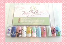 Easter and Spring nail art designs Spring Nail Art, Spring Nails, Manicures, Fingers, Nail Art Designs, Easter, Fancy, Pretty, Nail Salons