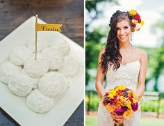 Cinco de Mayo wedding inspiration // mexican wedding cookies + flower hair accent + bright colors