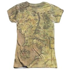 This officially licensed Lord Of The Rings - Middle Earth Map Sublimated Junior T-Shirt is dye sublimated and is made of 100% polyester. Display your Lord Of The Rings pride and grab this sublimated j