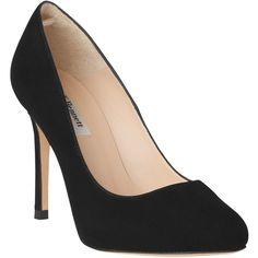 L.K. Bennett Hazel Suede Stiletto Court Heels (354,880 KRW) ❤ liked on Polyvore featuring shoes, pumps, heels, black, black evening pumps, low heel shoes, low heel pumps, heels stilettos and l.k. bennett pumps