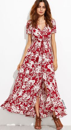 Burgundy Floral Self Tie Fringe Split Dress