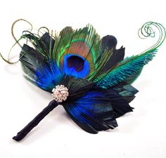 Peacock Feather and Sword Boutonniere Buttonhole Corsage - Matches Josephine Fascinator - The JONATHAN Boutonniere