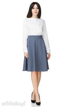 Spódnica rozkloszowana z tkaniny, T202, brudny niebieski. $36 Waist Skirt, High Waisted Skirt, Skirts, Dresses, Fashion, Vestidos, Moda, High Waist Skirt, Skirt