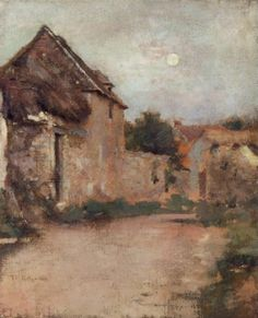 """""""Harvest Moon, Giverny,"""" Theodore Robinson, oil on canvas, 18 x 14 Private collection. Theodore Robinson, Art Database, Impressionism, Landscape Paintings, Oil On Canvas, Roman, Artist, Artwork, Harvest Moon"""