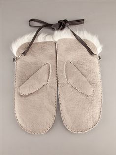 Grey lambskin mittens from Karl Donoghue