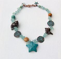 Mixed media knotted necklace- ceramic sea glass Greek beads artisan jewelry- ArtIncendi- Majoyal- WinterBirdStudio