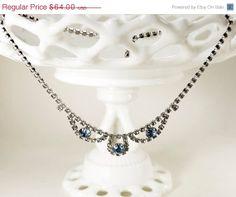 SALE Blue Vintage Crystal Necklace Bridal by GildedShadows on Etsy, $57.60