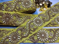 3 Meters Latest Indian Golden Zari Sequin work Kinare Joining Lace Trimming