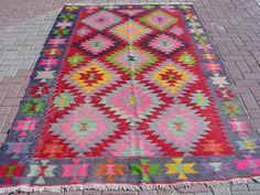 "VINTAGE Turkish Kilim Rug Carpet, Handwoven Kilim Rug, Antique Kilim Rug,Decorative Kilim, Natural Wool 65"" X 109''"