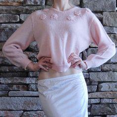 Vintage Pink Flower Applique Sweater | Marulinne | Shop on Inselly | $20