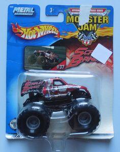 2003 Hot Wheels Monster Jam #37 Scarlet Bandit 1:64 Monster Truck *damaged pkg* #HotWheels #37ScarletBandit #MonsterTrucks