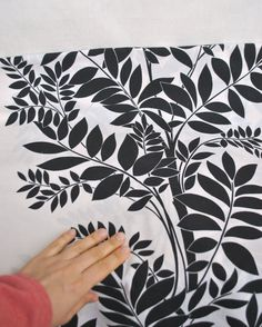 Black and white cotton fabric with foliage print rustic by Klaptik