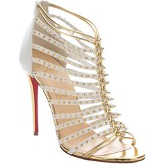 Christian Louboutin White And Gold Spiked Leather 'miccaclou 100'... ($1,345) ❤ liked on Polyvore featuring shoes, sandals, open toe sandals, caged sandals, gold shoes, gold high heel sandals and leather shoes