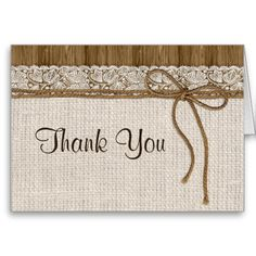 Rustic Wedding Thank You Card With Burlap And Lace