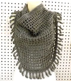 Boho Fashion Scarf Gray Crochet Scarf with Fringes Crochet Tie Scarf Around Your Neck Scarf Women Festival Gray Scarf CENTIPEDE Scarf by strawberrycouture by #strawberrycouture on #Etsy