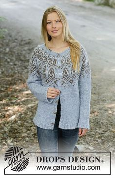 Morning Rain Jacket - Knitted jacket in DROPS Air or DROPS Nepal. The piece is worked top down with Nordic pattern and round yoke. Sizes S - XXXL. Hand Knitted Sweaters, Sweater Knitting Patterns, Knitting Charts, Free Knitting, Nepal, Drops Design, Magazine Drops, Morning Rain, Work Tops