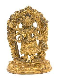 A Sino-Tibetan Gilt Bronze Figure of a Bodhisattva Height 7 7/8 inches.