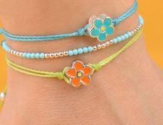 Enamel  sterling silver flower  bracelet.