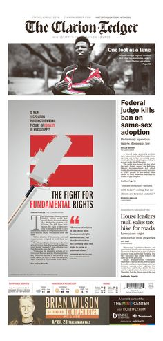 The fight for fundamental rights, The Clarion-Ledger, Newseum #newsdesign #newspaper #design