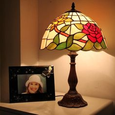 Rose Bushes Tiffany Bedside Lamp
