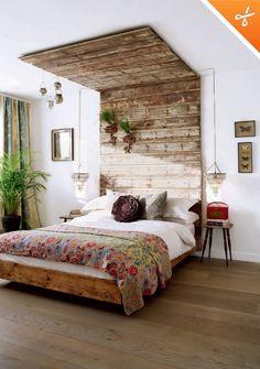 Creative rustic headboard | Home - Master Bedroom Ideas