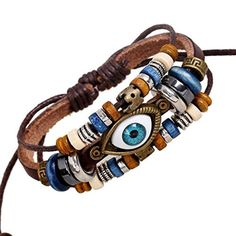 Victoria Echo Vintage Evil Eye Charm Bracelet Wooden Beads Leather Wristband, Adjustable by Victoria Echo -- Awesome products selected by Anna Churchill