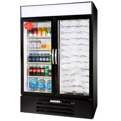 Beverage Air Market Max MMRF49-1-B-LED C/F Black 2-Glass Door Dual Merchandising Refrigerator / Freezer with LED Lighting- 49 Cu. Ft.